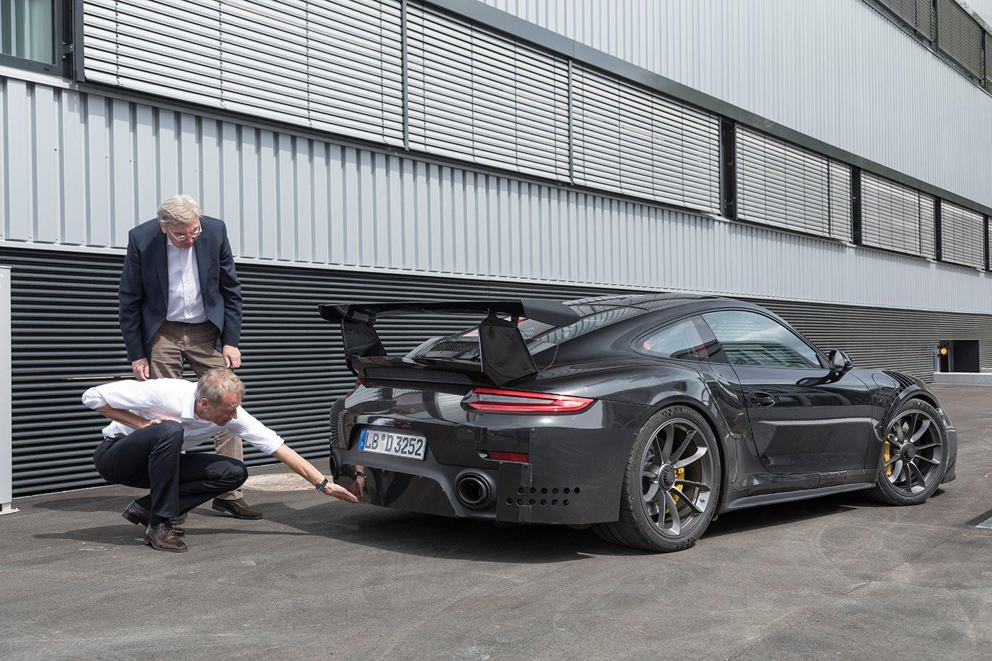 Owen Braun inspecting the 2018 Porsche 911 GT2 RS