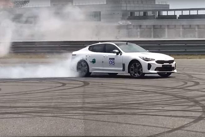 Kia Stinger GT does burnouts and donuts