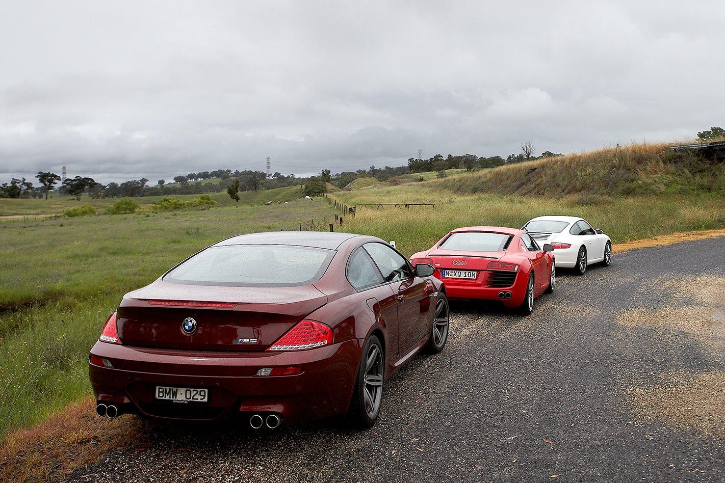 Audi R8 vs Porsche 911 Carrera S vs BMW M6 rear