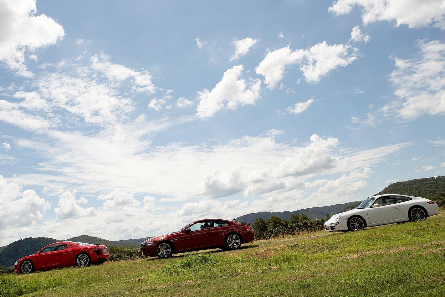 Audi R8 vs Porsche 911 Carrera S vs BMW M6 side