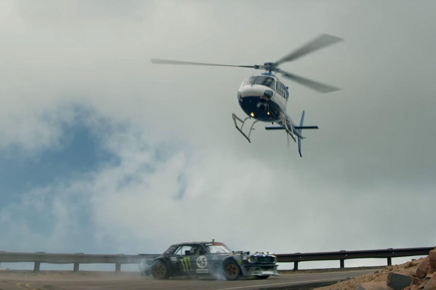 Ken Block's Hoonicorn and helicopter
