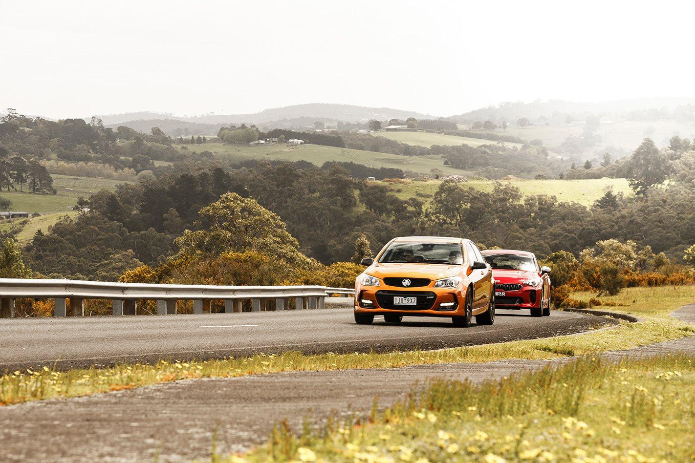 2017 Kia Stinger 330S vs 2017 Holden VFII SS V Redline Commodore drive.jpg