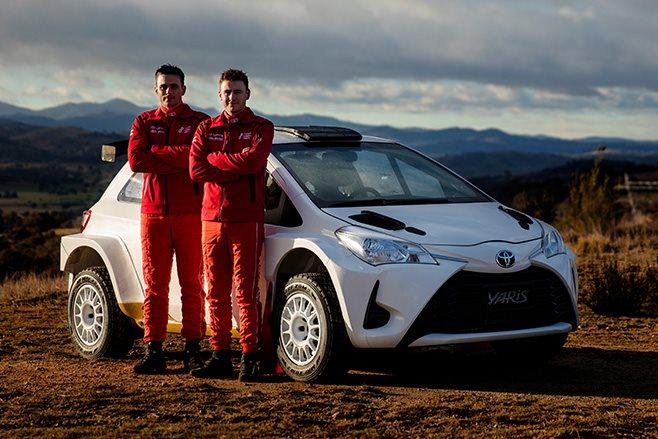 Harry Bates, John McCarthy and Yaris AP4 rally car