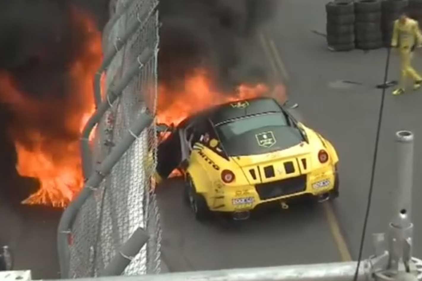 Formula Drift Ferrari 599 Catches Fire