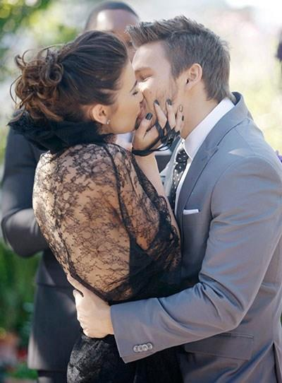 **Steffy and Liam**  The couple married twice due to Liam going back and forth between Steffy and Hope, but on their second wedding, Steffy wore a black lacy dress designed by Eric.