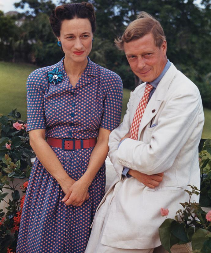 King Edward famously abdicated the throne for twice-divorced American socialite and Nazi-sympathiser, Wallis Simpson.