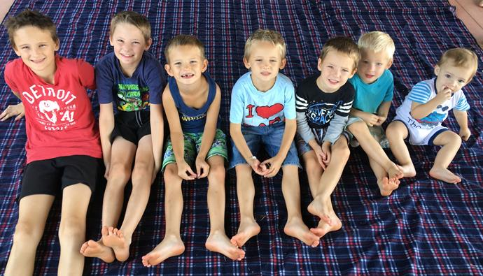 From left: Tristan, 11, Daemon, 10, Blaire, 6, Chase, 6, Logan, 4, Zander, 3, and Elijah, 1.
