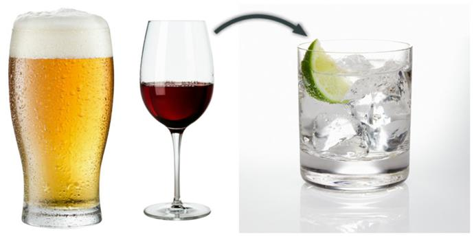 Ditch the beer & wine, and go for a vodka & tonic.