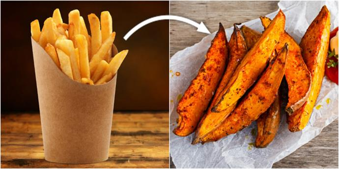 Ditch the hot chips and go for sweet potato wedges.