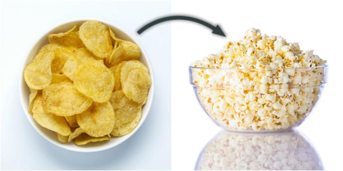 Ditch the chips and go for some unsalted popcorn.