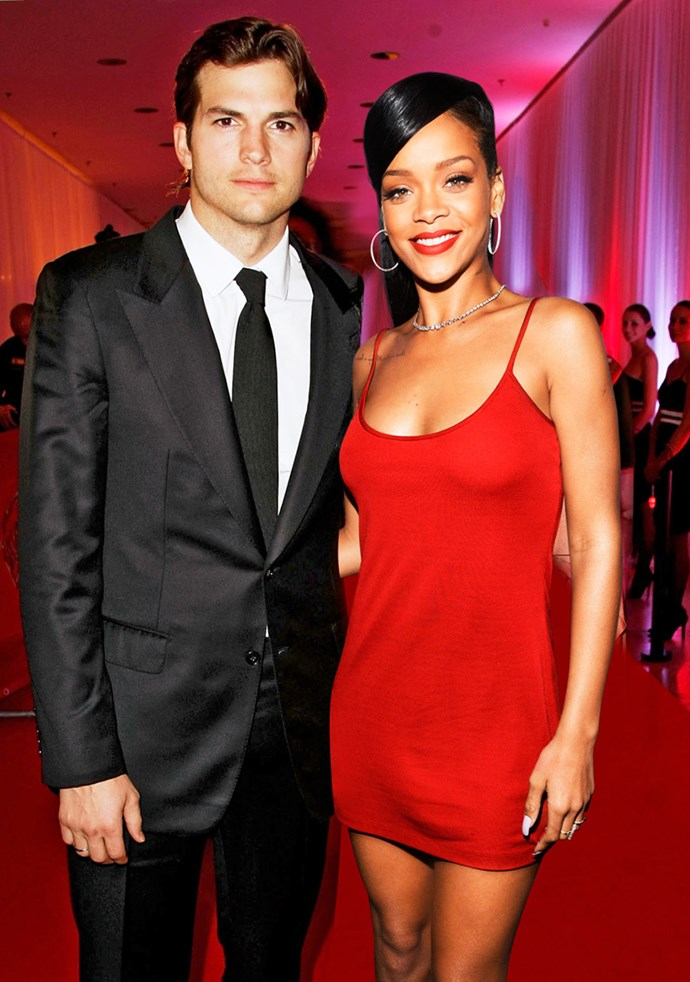 **Ashton Kutcher & Rihanna**  Before finding love with Mila Kunis, Ashton was rumoured to have dated Rihanna after she was photographed leaving his home at 4am in March 2012. RiRi denied romance talk, telling reporters, 'I'm happy and I'm single.'