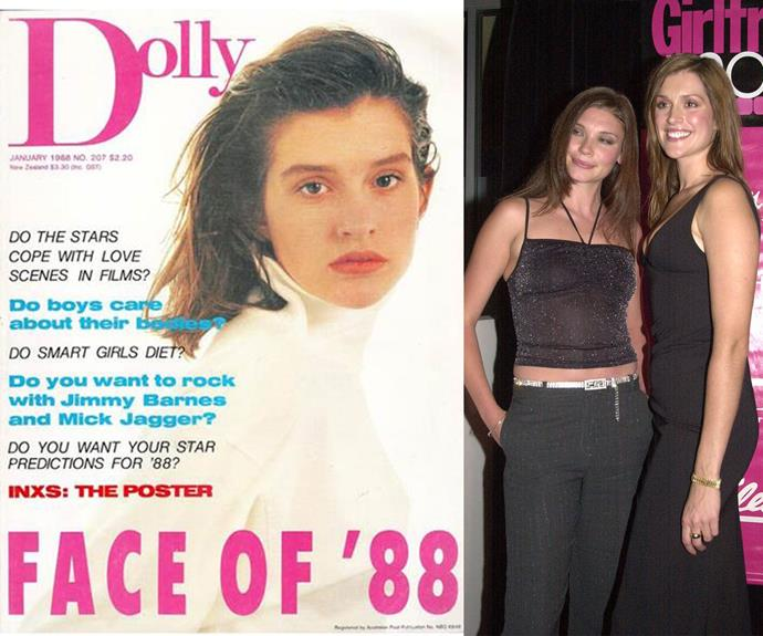 Kate was discovered at 14 when she won the *Dolly* Magazine Covergirl of the Year competition in 1988. On the right, she poses with fellow *Dolly* covergirl Chloe Maxwell. *(Images L-R: Dolly, Getty Images)*
