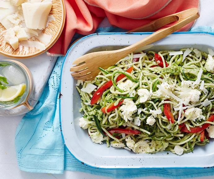 """Healthy pastas exist! This [pesto chicken, zucchini and spaghetti salad](http://www.foodtolove.com.au/recipes/pesto-zucchini-and-pasta-salad-33088