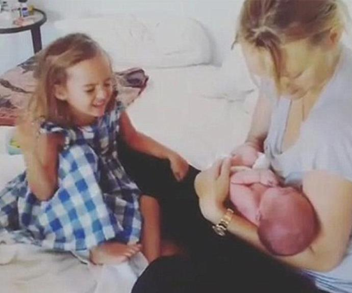 Gemma introduces her son to proud big sister Naia.
