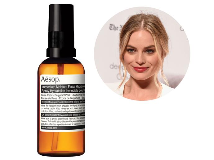 """""""I also really like Aesop Immediate Moisture Facial Hydrosol. I have one in my bag all the time. Everything from Aesop smells so good,"""" says actress Margot Robbie.  *[Immediate Moisture Facial Hydrosol, $25](http://www.aesop.com/au/immediate-moisture-facial-hydrosol.html target=""""_blank"""" rel=""""nofollow"""")*"""