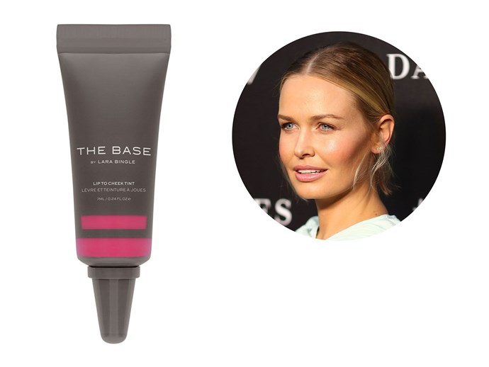 Lara Worthington's own line of cosmetics is a favourite with the mother-of-two, who wears the brands lip tint regularly. The softly coloured stain can also be used on cheeks for a flush of colour, and contains Vitamin E and Green Tea extract to plump skin. *[The Base by LB Lip-To-Cheek Tint, $24](http://www.thebase.me)*
