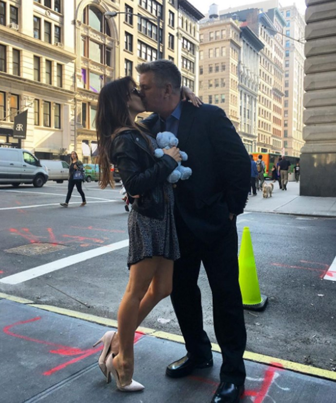 """Ireland, Carmen, Rafael, Alec and I are excited to share with you that we are going to have another addition to our family. A little boy coming this fall,"" wrote a loved-up Hilaria Baldwin as she smooched husband Alec."