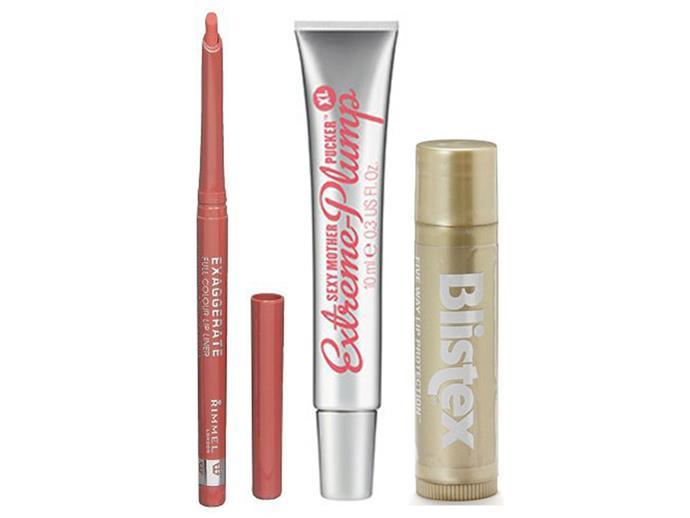 Try: (L-R) Rimmel Exaggerate Full Colour Lip Liner, 12.95; Sexy Mother Pucker Extreme Plump; Blistex Five Way Lip Protection, $3.99.