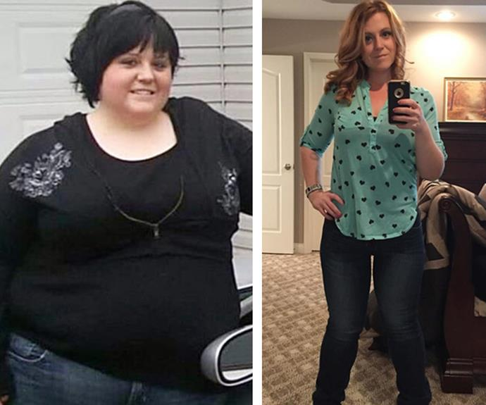 Amy LeRoy once weighed over 158kg. Even after a gastric bypass surgery, she still wasn't able to lose the weight. After downloading a calorie-counting app, she realised she was eating more than 4,000 calories a day. But giving up certain foods - like peanut butter, which she used to eat by the spoonful - she's now down 90kg from her heaviest.
