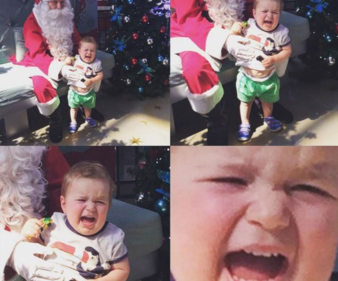 "Like many little ones in the first few years of life, Sonny doesn't exactly care for Santa Claus. ""Successmas,"" wrote the doting mum on Instagram. That final close-up shot is everything."