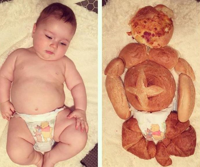 "Who could forget that time Hamish made a lifes-size carbohydrate model of his son. ""This is what happens when you notice your sons legs kind of look like croissants and you have a fair bit of left over bread around the house and also a spare hour...."""
