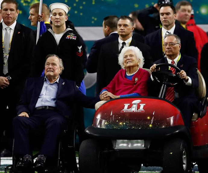 George and Barbara Bush were greeted with a huge applause.