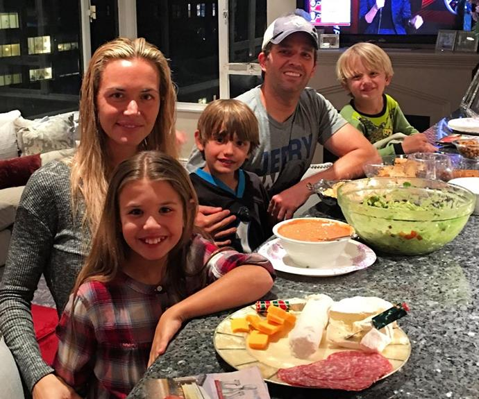 "Meanwhile, his son, Donald Trump Jr, is catching the game with his family. ""Family cooking session consisting of the 4 basic #superbowl food groups... Wings, guaq, queso, and ice cream. #food"""