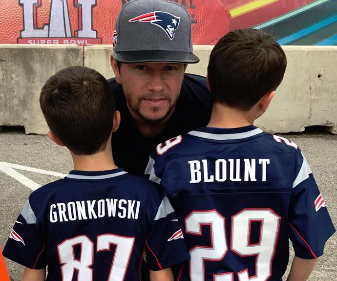 Mark shared this snap with the Patriots' biggest fans, his two sons Brendan and Michael.