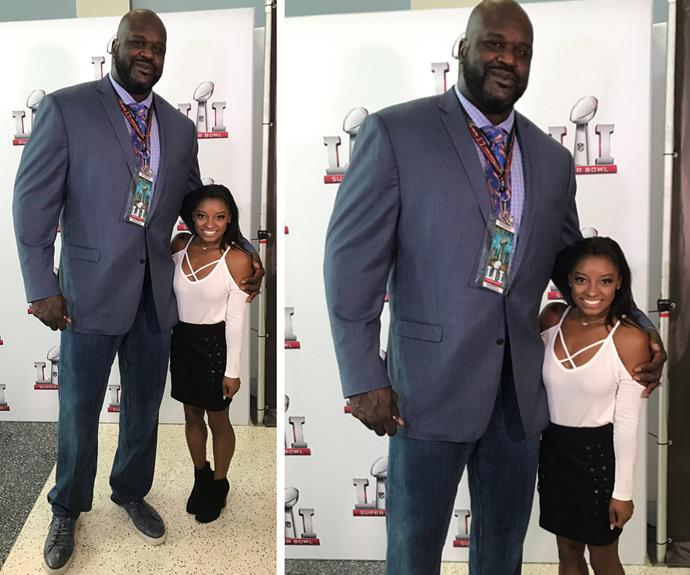 "The tiny Olympian shared the cutest selfie with basketballer Shaquille O'Neal, penning, ""Hi Shaq!"""