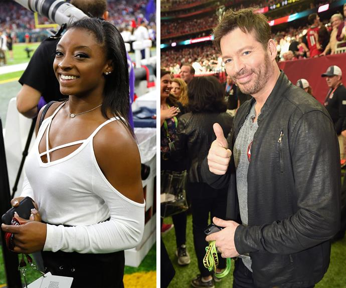 Simone Biles and Harry Connick Jr are loving the final game.