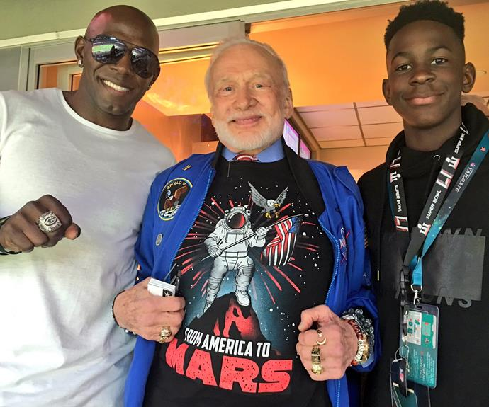 Astronaut Buzz Aldrin hangs out with former Superbowl champ Donald Driver.