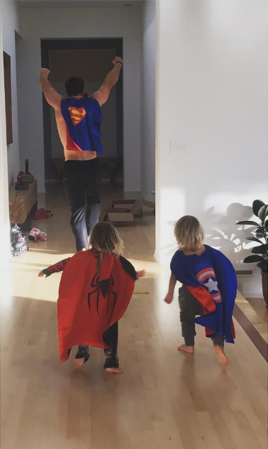 """When he conducted a """"superhero camp"""" for twins Tristan and Sasha, two."""
