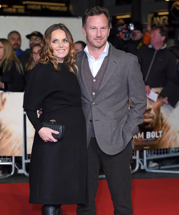 A pregnant Geri with Christian at the *I am Bolt* premiere in November, 2016.