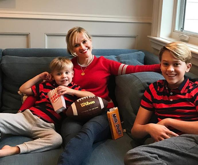 Reese Witherspoon and her sons are ready for the game!