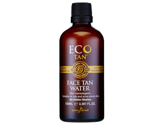 "Great for oily and acne-prone skin, this non-comedogenic tanning water won't clog your pores. Soak a cotton pad and wipe the water over your face for a subtle glow. It's made from all-natural ingredients so it's great for super-sensitive skin.  [Eco Tan Face Tan Water, $34.95](https://ecotan.com.au/product/face-tan-water-2/|target=""_blank""