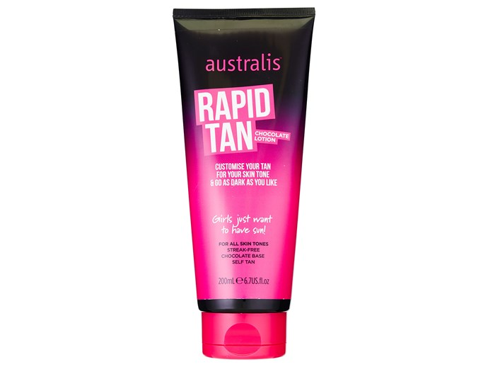 "No time? Swipe on this tinted tan for immediate colour, and in one hour it develops into a streak-free glow. It smells like chocolate, so no nasty whiffs either.   [Australis Rapid Tan Chocolate Lotion, $22.99](https://www.australiscosmetics.com.au/rapid-tan-chocolate-lotion|target=""_blank""