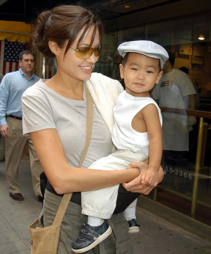Angelina Jolie and her son Maddox, now 15, as a baby.
