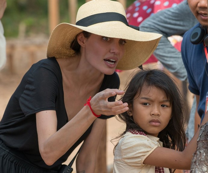 Angelina with cast members in Cambodia. *Pic Credit: Splash*