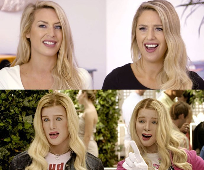 TWINNING! Michelle and Sharon are blonde, confident twins, just like 'The Wilson Sisters' from *White Chicks*!