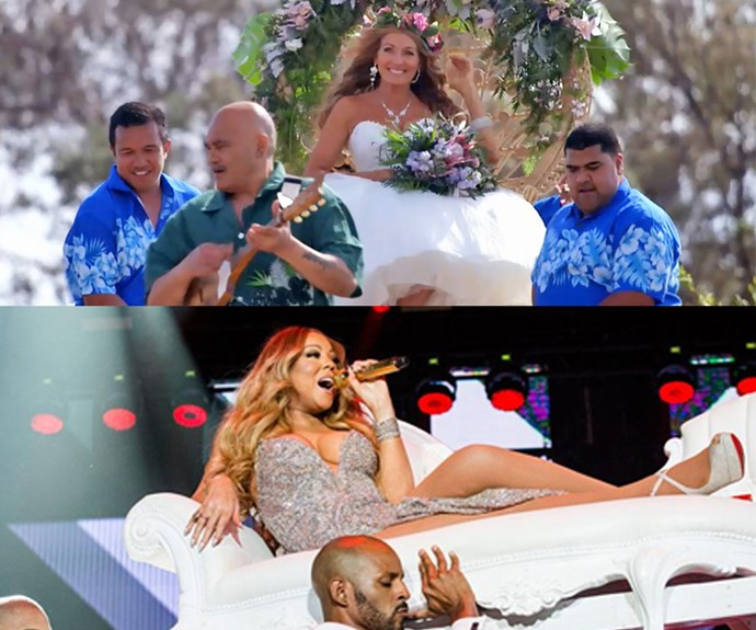 Okay, we know they don't look the same, but Debbie seriously channeled Mariah Carey vibes when she was carried down the aisle!