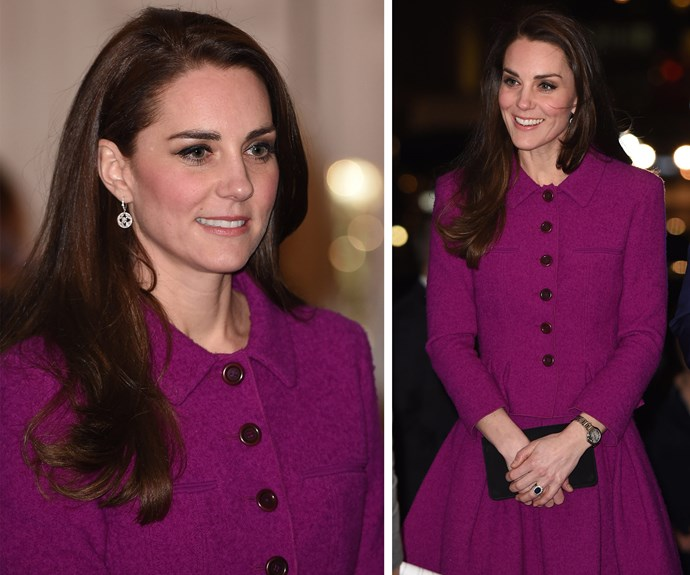 ** February 7:** Catherine attended the Guild of Health Writers [event](http://www.nowtolove.com.au/royals/british-royal-family/duchess-catherine-and-prince-william-enjoy-a-date-night-33967) at Chandos House in chilly London in February wearing a plum Oscar de la Renta outfit.