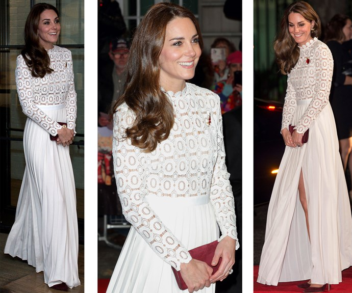 She opted for a white lace Self Portrait dress with a thigh-high slit, suede oxblood heels and a matching clutch at the premiere of A Street Cat Named Bob in London in 2016.