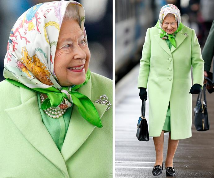The Queen was spotted out and about that same year, boarding a train in Norfolk bound for London. She was a monarch not to be missed in this lime-coloured coat, complete with a matching dress.