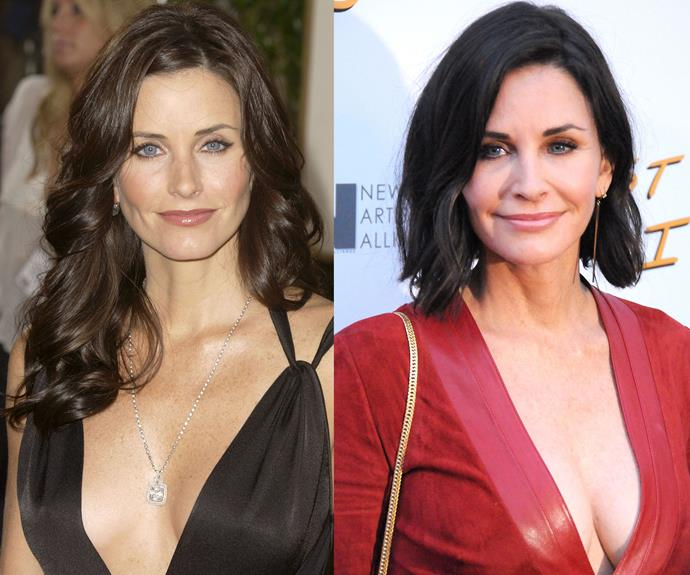 """Jen's BFF and *Friends* co-star Courteney Cox has copped a lot of heat for her plastic surgery choices and recently talked about how she now regrets going under the needle. """"I have done things that I regret and luckily there are things that dissolve and go away. So that's good because it's not always been my best look,"""" she said on the TV show *Running Wild with Bear Grylls*. """"Sometimes you find yourself trying and then you look at a picture of yourself and you go, 'Oh God, I look horrible.'"""""""