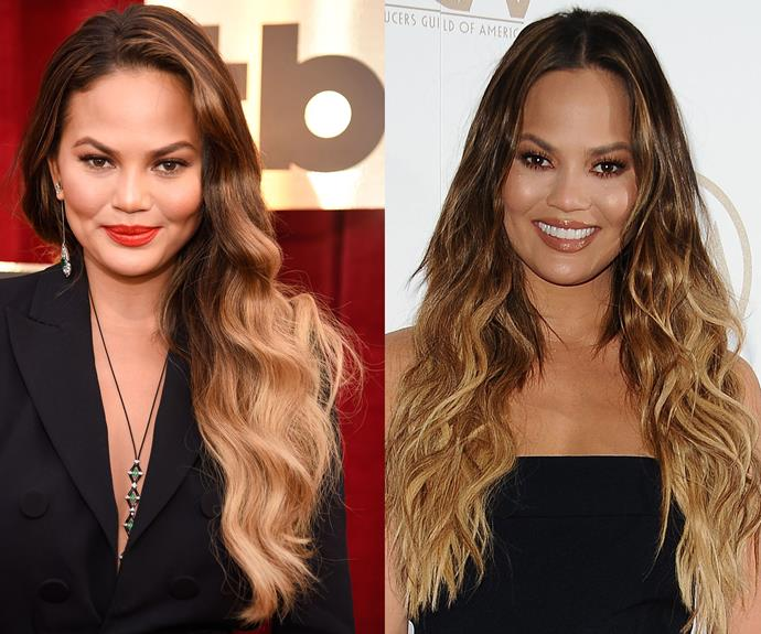 """Chrissy Teigen might be known for her enviable, caramel, ombré locks but she's no stranger to a dodgy DIY job. """"I dyed my own hair this chocolate cherry colour, and I remember getting into so much trouble because it stained our bathtub,"""" she confessed to [InStyle](http://www.instyle.com/news/chrissy-teigen-interview-tresemme-campaign
