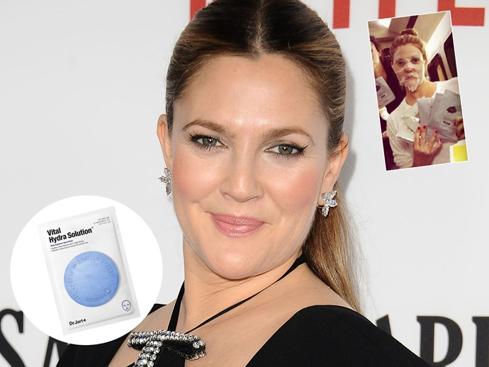 "At 41, Drew Barrymore found her holy grail beauty product after a trip to Korea. ""I just took a trip there and came back with moving boxes full of masks,"" she told [Us Weekly]. ""I don't do anything invasive on my face, so this is the most exciting thing that's happened to a mum like me. I was feeling 41 and tired, and I need something and the Korean masks have actually changed my life."" TRY: [Dr.Jart+ Soothing Hydra Solution Deep Hydration Sheet Mask, $7, Sephora](http://www.sephora.com.au/products/dr-jart-mask-waterjet-soothing-hydra-solution-1-sheet)."