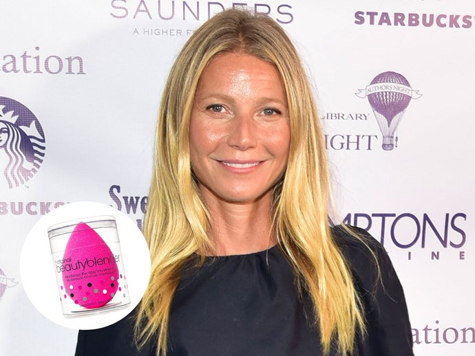 "Gwyneth Paltrow is known for her [wild and slightly unattainable natural beauty standards]( http://www.nowtolove.com.au/beauty/makeup/gwyneth-paltrow-got-bee-stings-for-beauty-20863) but she actually does use more products than her own natural skincare line, Goop. For foundation (organic, of course) she turns to a nifty tool to get a flawless finish: ""With the foundation I use one of those little Beautyblenders."" she tells [IntoTheGloss]. ""My daughter gave it to me—she's very into beauty products.""  [Beauty Blender, $30, Sephora](http://www.sephora.com.au/brands/beauty-blender