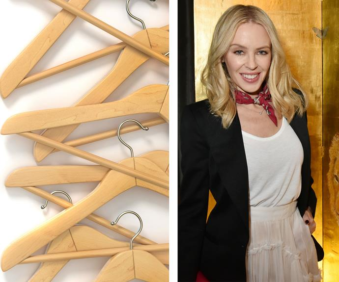 """[Kylie Minogue](http://www.nowtolove.com.au/celebrity/celeb-news/kylie-minogue-splits-from-joshua-sasse-33879 target=""""_blank"""") once admitted: [""""I have a hanger phobia.](https://www.buzzfeed.com/jessemfink/21-celebrity-phobias-that-will-make-you-feel-better-about-yo?utm_term=.rwPEONM8vE#.qyZzYl9kMz target=""""_blank"""") I don't like the way they sound when you put them in the wardrobe."""" This means she actually lays all of her clothes out in her room instead of hanging them up!"""