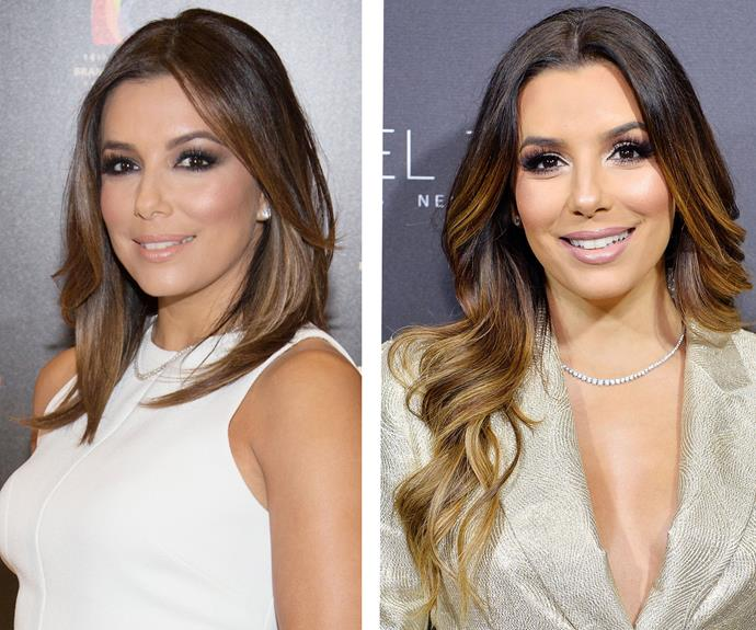 Eva Longoria transformed her choppy mid-lengths into bombshell waves, with the help of some blonde balayage at the ends.