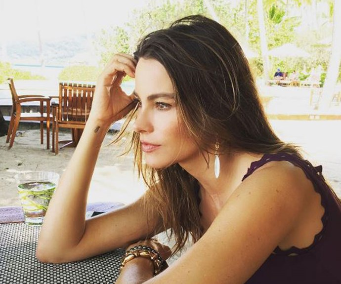 "Sofia Vergara shares a [""I'm so deep in thought"" photo](https://www.instagram.com/p/BOtDEYxgbS9/?taken-by=sofiavergara&hl=en) while celebrating the New Year on holiday."